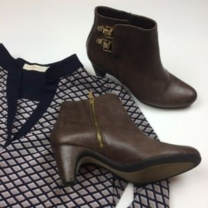 Sam Edelman Marmont Leather Buckle Brown Booties